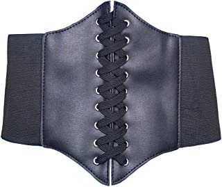 HOEREV Women Girls Elastic Wide Band Elastic Tied Waspie Corset Waist Belt Bustiers Corsets,Black,X-Small
