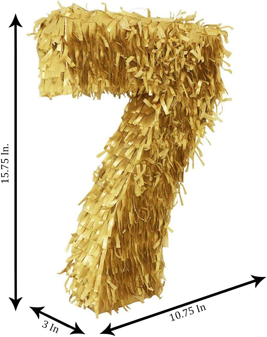 Seven Pi/ñata LYTIO Golden Number 7 Small Pinata Perfect for 7th Birthday Celebrations Decorations Photo Props, Anniversaries Party Supplies Centerpiece