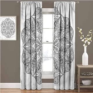 GUUVOR Mandala Room Darkened Heat Insulation Curtain Ethnic Cosmos Symbol Living Room W72 x L72 Inch