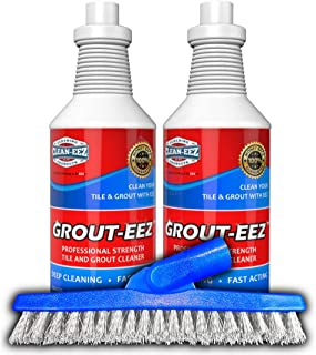 IT JUST Works! Grout-EEZ Super Heavy Duty Tile & Grout Cleaner and Whitener. Quickly Destroys Dirt & Grime. Safe for All Grout. Easy to Use. 2 Pack with Free Stand-Up Brush. The Floor Guys…