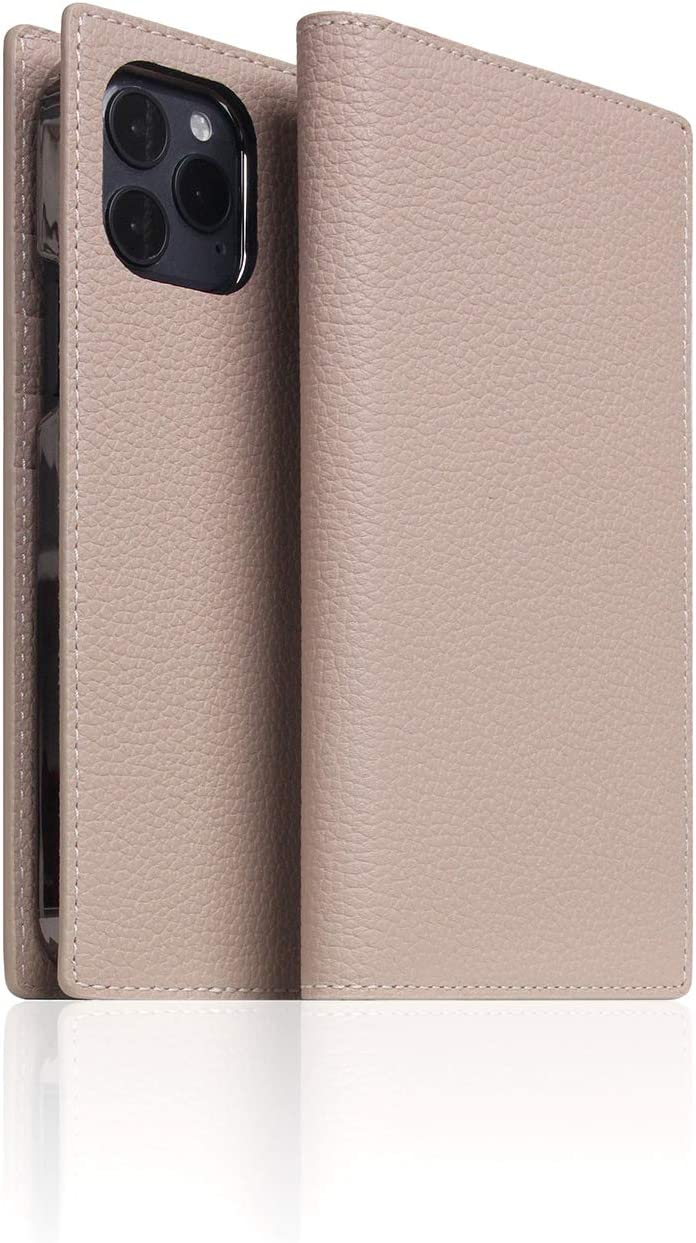 SLG Leather Wallet Case Compatible with iPhone 12 Mini, D8 Full Grain Leather Diary Flip Cover Card Slot Holder with Gift Box, Handmade and Designed for iPhone 12 Mini (Light Cream)