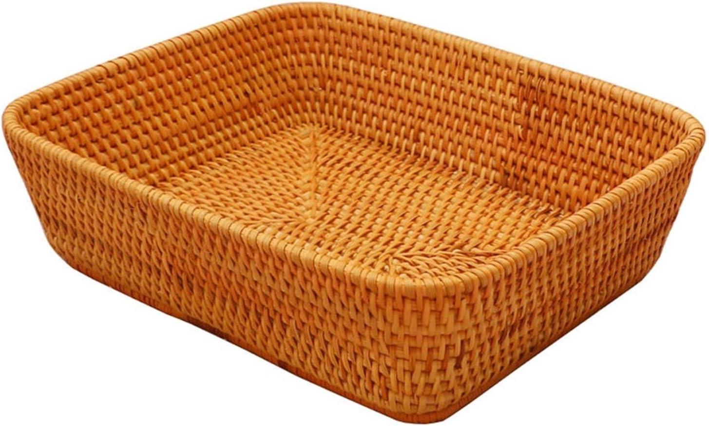 Hand-made rectangular wicker fruit multi-purpose tray Popular standard bread box Phoenix Mall