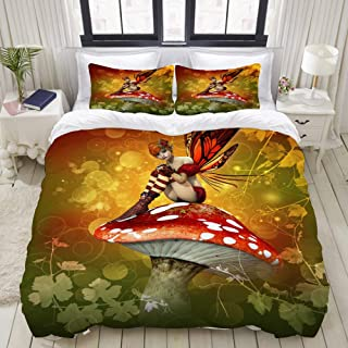 """Mokale Bedding Duvet Cover 3 Piece Set - The Fairy Sits On The Mushroom - Decorative Hotel Dorm Comforter Cover with 2 Pollow Shams - Twin 68""""X86"""""""