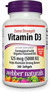 Webber Naturals Vitamin D3 5,000 IU (125 mcg), 360 Softgels, for Immune and Bone Support, Gluten and Dairy Free, Non-GMO, ...