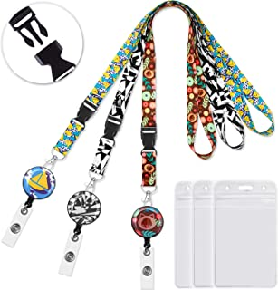 Lanyard lanyards for id Badges Badge Reel Retractable Clip Badge Holder Vertical 3pack Carabiner reels with Id Card Badge Holders Black&White lanyards for Women Keys Cruise Lanyard Width 0.79 inch