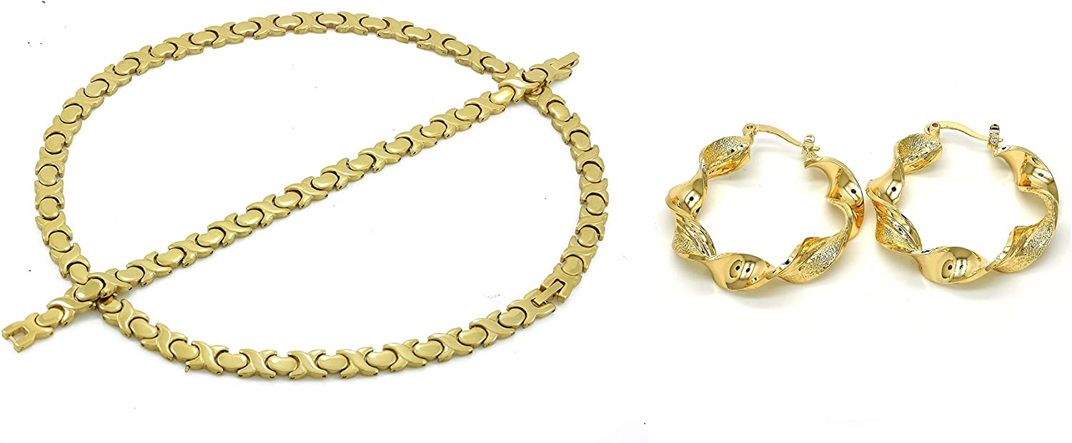 Women's Classic Hugs And Kisses XOXO Stampato Necklace Bracelet Earrings Jewelry Set Twist Glitter Glossy Hoops Multi Color (Gold, Tri Colored)