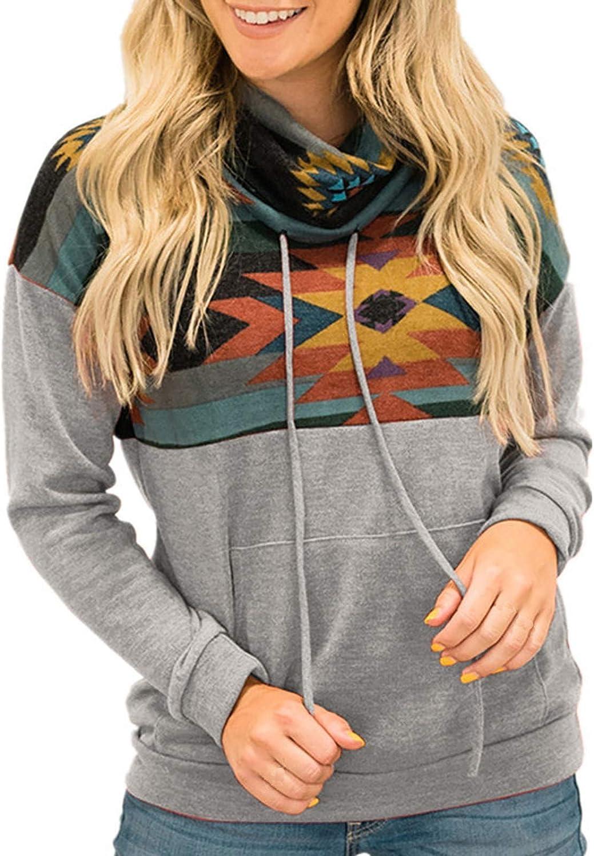 FABIURT Womens Sweatshirts,Womens Casual Color Block Printed Long Sleeve Cowl Neck Loose Sweatshirt Tops with Pocket