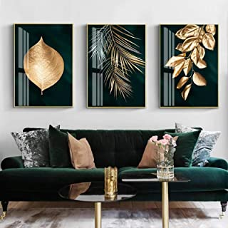 Cuadro en lienzo moderno fondo verde oscuro hojas doradas impresiones artísticas de pared póster imágenes para la decoraci...