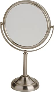 Jerdon JP910NB 6-Inch Tabletop Two-Sided Swivel Vanity Mirror with 10x Magnification, 11-Inch Height, Nickel Finish