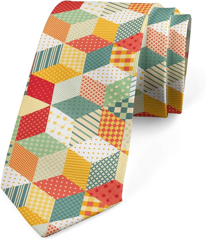 Lunarable Necktie, Rhombus Tiled Pattern, Dress Tie, 3.7