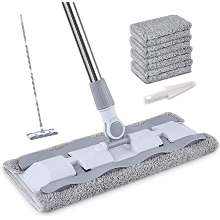 HOMTOYOU Microfiber Hardwood Floor Mop with 4 Washable Pads, 360 Rotation Dust Flat Mop with Ultra Long Stainless Steel Handle for Home/Office Floor Cleaning