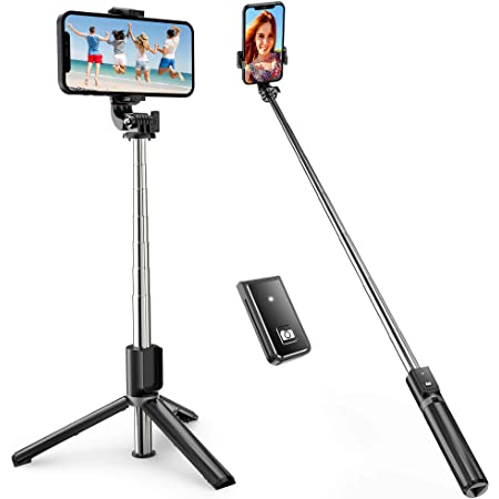 ATUMTEK Bastone Selfie, TikTok Selfie Stick Bastone Selfie Treppiede Estensibile Fino a 1m con Telecomando Wireless per Smartphone iPhone 12/11/11 Pro/X/XS/8/7 Plus/7, Samsung Galaxy S10/S9, Huawei