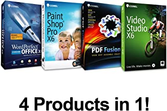 Complete PC Office Suite 4 - Includes : Corel WordPerfect Office X6, Paintshop Pro X6, Video Studio X6, & PDF Fusion ($499 Retail Value)