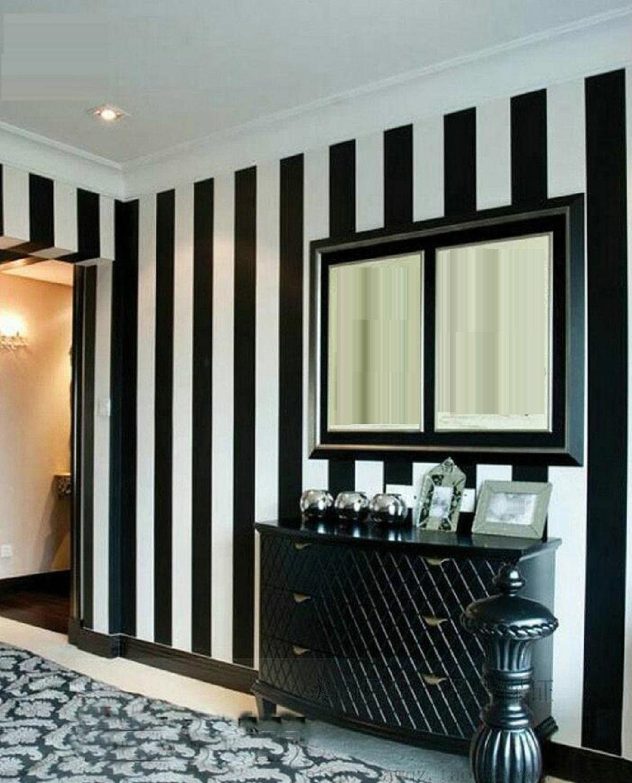 Amazon Com Gaojian Black White Vertical Striped Wall Stickers Modern Bedroom Living Room Tv Wall Pvc Wallpaper Width 0 53cm Long 10m A Home Kitchen