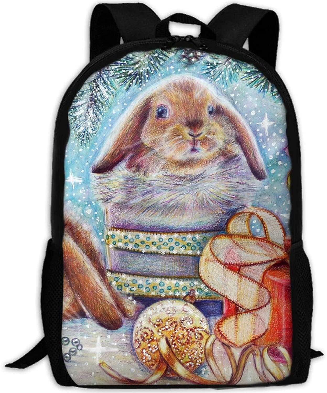 Backpack Christmas Rabbits College Daypack Oxford Bag Unisex ...