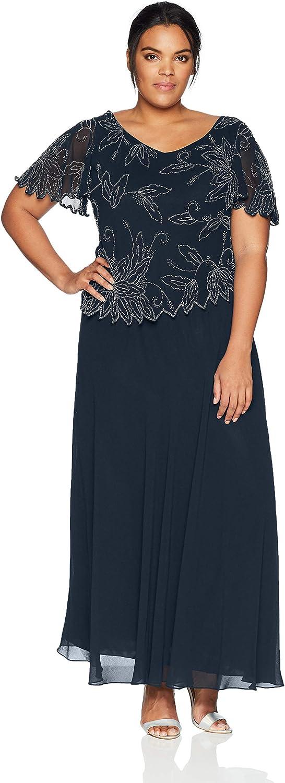 J Kara Women's Plus Size Branded goods Dress Beaded Long Sleeve Soldering Flutter