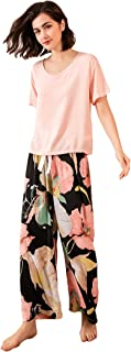MUFRIYIT-AE Women's Short Sleeve Long Pant Round Neck Floral Print Self tie Summer Nightwear Sleepwear Pajama Set