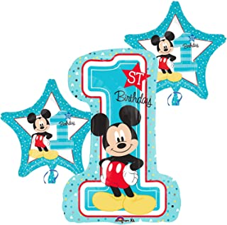 Mickey Mouse First Birthday Party Balloons - Set Of 3 Micky Mouse Disney Theme Balloon Decorations For A Babys 1st Birthday