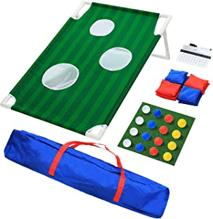 OOFIT Backyard Golf Cornhole Game Set Tailgate Size 2' x 3' Bean Bag Toss Game for The Beach, Backyard, Tailgate, Clubhouse and Office with Scorecard and Carrying Case