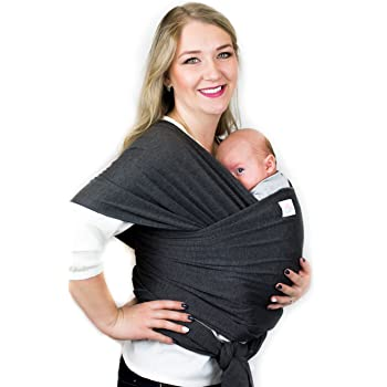 Baby Carrier Wrap by Cutie Carry Chest Sling Item for Newborn Child and Infant Papoose Hands Free All in One Shower Gift Dark Grey Heather