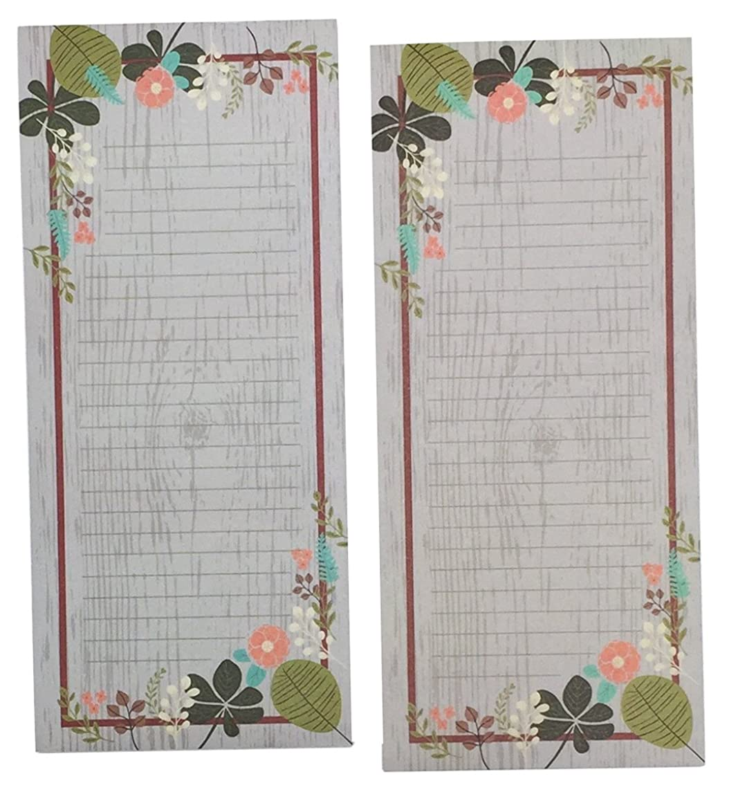 Meadowsweet Kitchens Vintage Flowers Set of 2 Grocery List Notepads with Magnets, Gray/Green/Brown