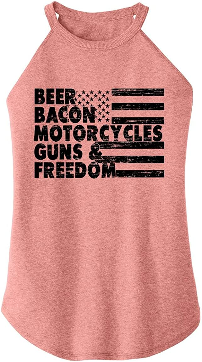 Comical Shirt Ladies Beer Bacon NEW before selling ☆ Tee Motorcycles Max 71% OFF Guns G Freedom