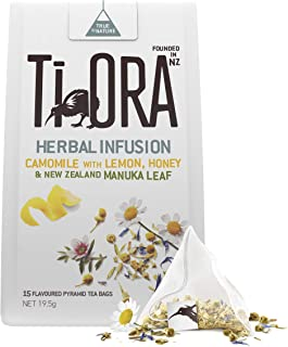 Ti Ora Herbal Infusion - Camomile with Lemon, Honey & New Zealand Manuka Leaf - 4 Packs of 15 Pyramid Tea Bags (60 Serves)...