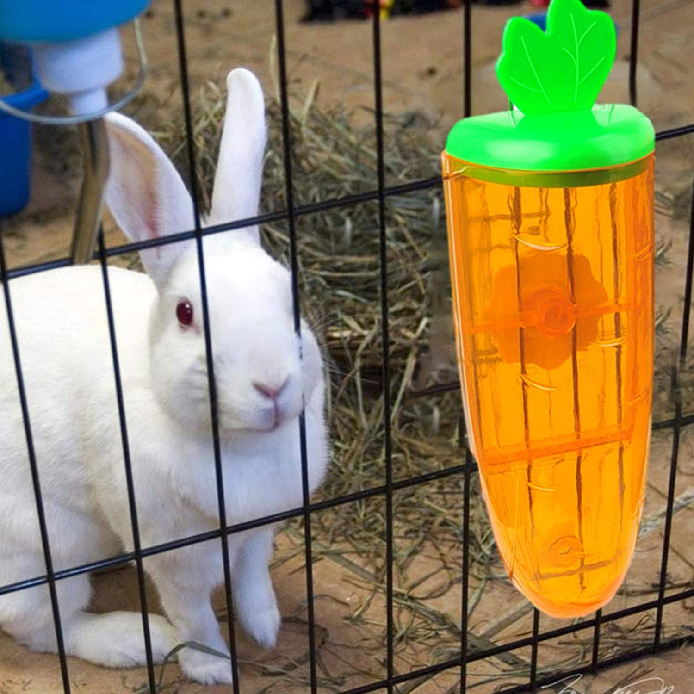 Xuanshengjia Roditori Erogatore dellAcqua Blu//Rosa//Giallo, 10.63x2.95x3.15 Pollici Hanging Bottiglie in Pet Gabbia dAcqua 500ml Bottiglia Bunny Acqua Facile da Montare Carota Style