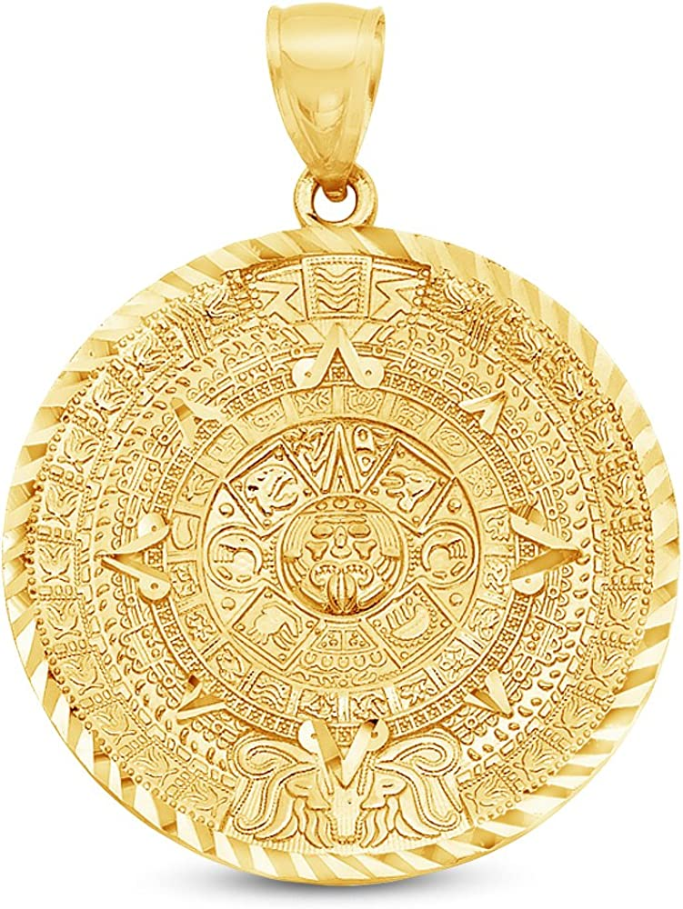 Sonia Jewels 14K Yellow Gold Diamond-Cut Ornate Aztec Calander Azteca Pendant Charm (40x40 mm)