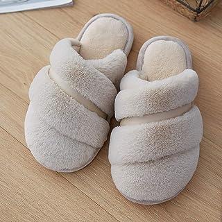 Zapatillas De Casa Para Mujer,Invierno Zapatillas De Algodón Antideslizante Banda Simple Moda Beige Suave Caliente De Felpa Artificial Zapatillas Inferior Para Interiores Dormitorio Mute Home Zapatos