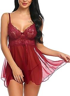 Avidlove Women Babydoll Set Mesh Lingerie Strap Chemise Lace Sleepwear Outfits