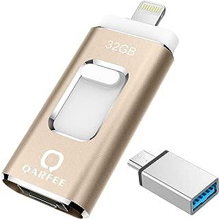 Qarfee フラッシュドライブ USB メモリー 32GB iPhone PC Andoird 3in1 高速転送 OTG Type- C 変換アダプタ付属 アルミ合金製 日本語説明書付き (32GB, ゴールド8)