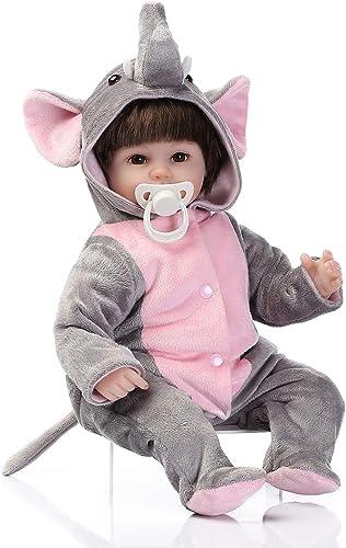 LHKAVE Belle 16 40 cm la Vie comme réaliste Recherche Doux Vinyle de bébé Fille poupée Reborn poupées Coton bourré Corps Bouche magnétique Cadeau d'anniversaire