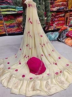 Sara Creation Georgette Heavy Hand work bandhani/Bandhej party saree Green colour White