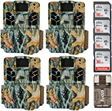 Browning Trail Cameras Dark Ops HD Pro X 20MP Game Cams (Camo) with Four 16 GB Memory Cards and Focus Card Reader Bundle