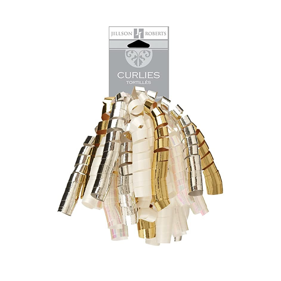 Jillson Roberts 6-Count Self-Adhesive Curly Bows Gift Wrap Accessory Available in 10 Color Combinations, Gold/Silver/Ivory/Pearl