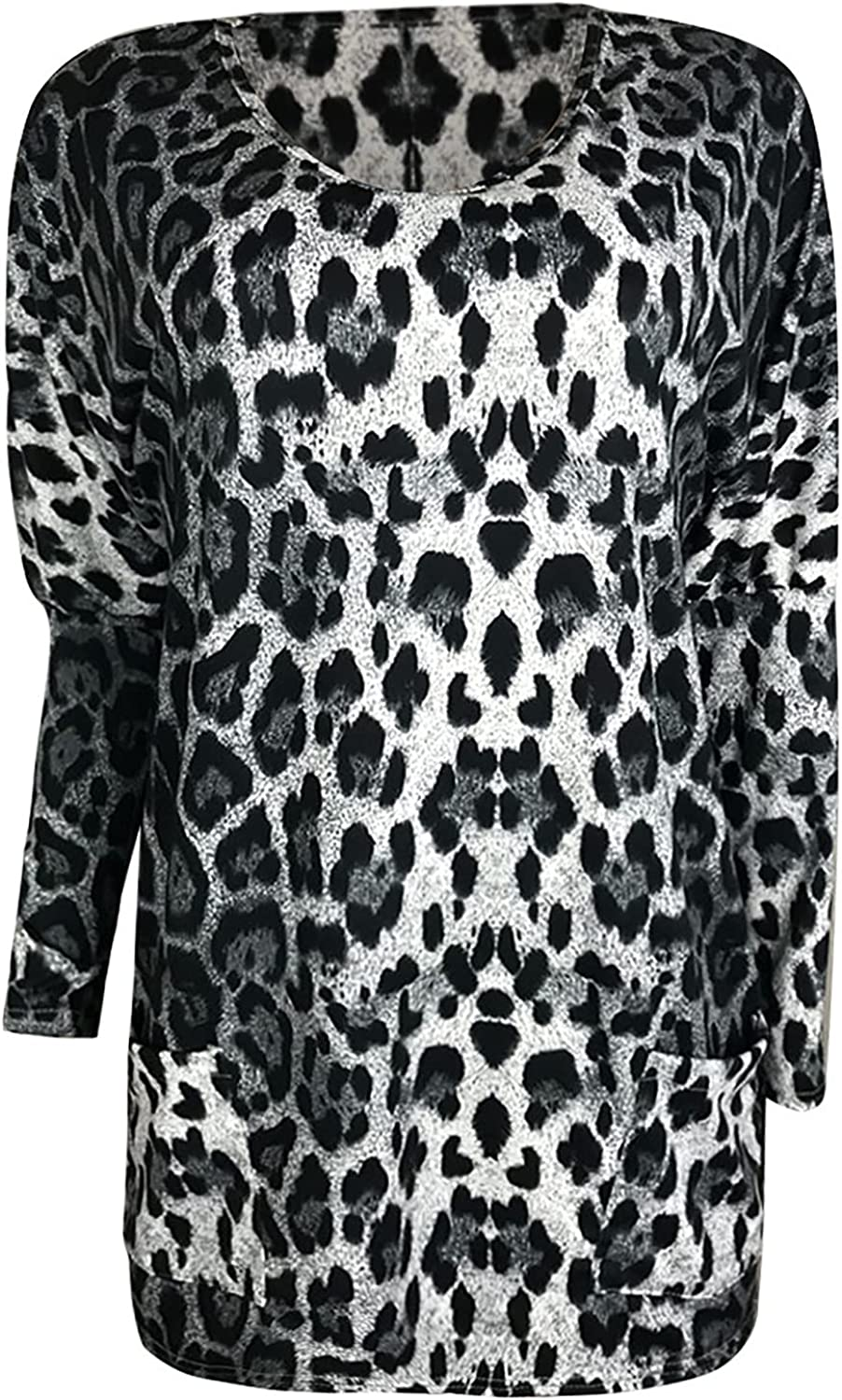 SHOPESSA Leopard Tunic Shirts for Women Casual Long Sleeve Tops with Pockets V-Neck Long Flowy Pullover Blouses