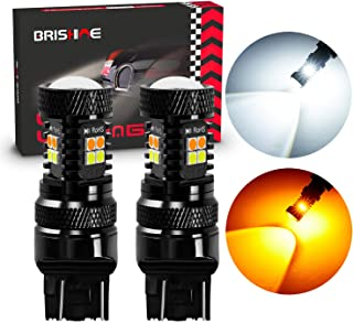 BRISHINE Switchback LED Bulbs Extremely Bright 3030 Chipsets Xenon White/Amber Yellow LED Light Bulbs with Projector for T...