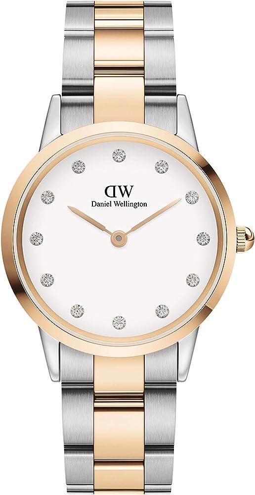 Daniel wellington, orologio per donna, in acciaio con placcatura oro rosa, quadrante impreziosito da swarovski DW00100358