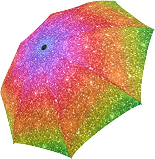 INTERESTPRINT Multicolored Rainbow (Not Real) Glitter Sparkling 100% Polyester Pongee Windproof Fabric Travel Umbrella, Compact Automatic Open and Close Folding UV and Rain Umbrella