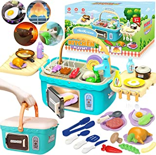 Cheffun Play Kitchen Set toys for Kids - Educational Pretend Play Camping Picnic BBQ Sink Toy Cooking Grill Basket with Mu...