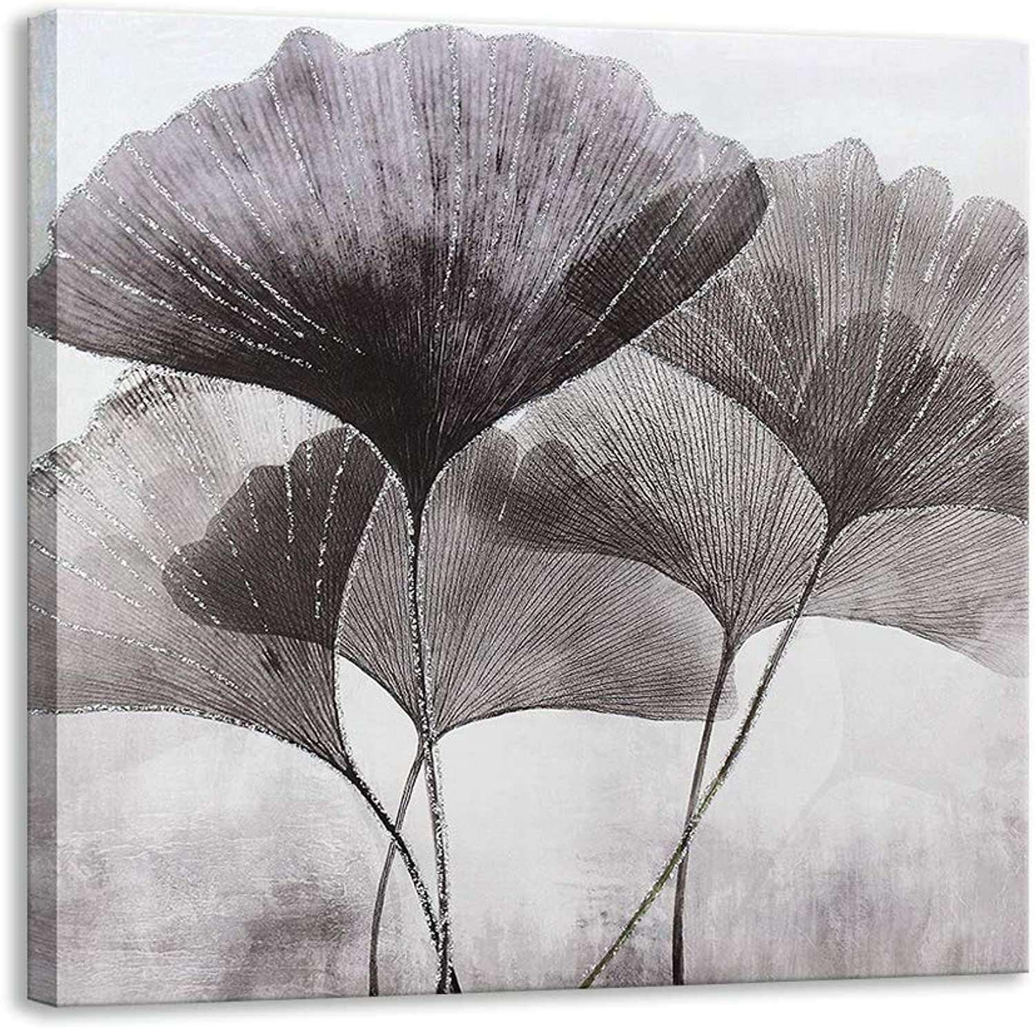 Kas Home Ginkgo Leaves Plant Canvas Wall Art   Silver Glitter Crystals Prints Large Framed   Perfect Nature Artwork Decoration for Living Room, Office & Home Wall Decor (24 X 24 inch, B Framed)