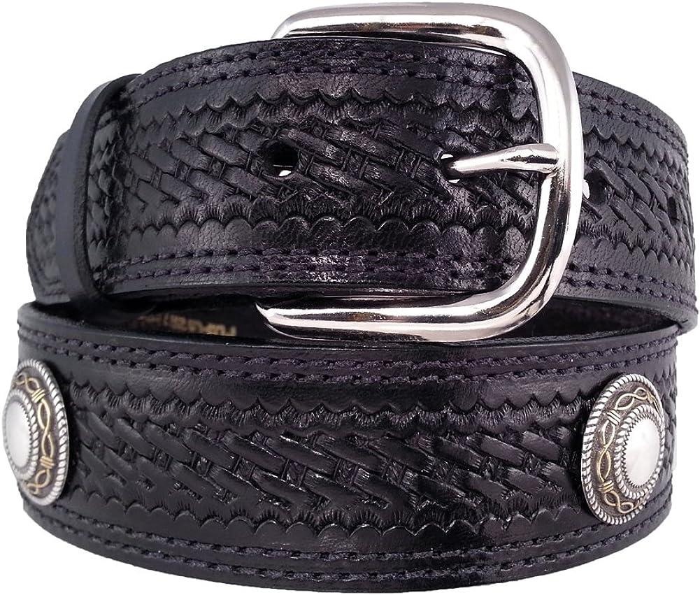 OFFicial site Santa Fe Leather Dallas Mall Co. Men's 625C Belt Le Bridle Concho Full-grain