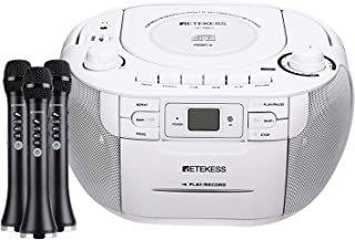 Retekess TR621 CD Cassette Player, Portable Boombox AM FM Radio, and TR617A Wireless Bluetooth Karaoke Microphone, 3-in-1 ...
