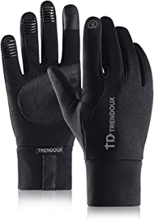 TRENDOUX Running Gloves, Touch Screen Glove for Texting Smartphone - Windproof and Water Resistant - Anti-Slip - Hands Warm in Winter Cold Weather for Outdoor Climbing Driving Cycling