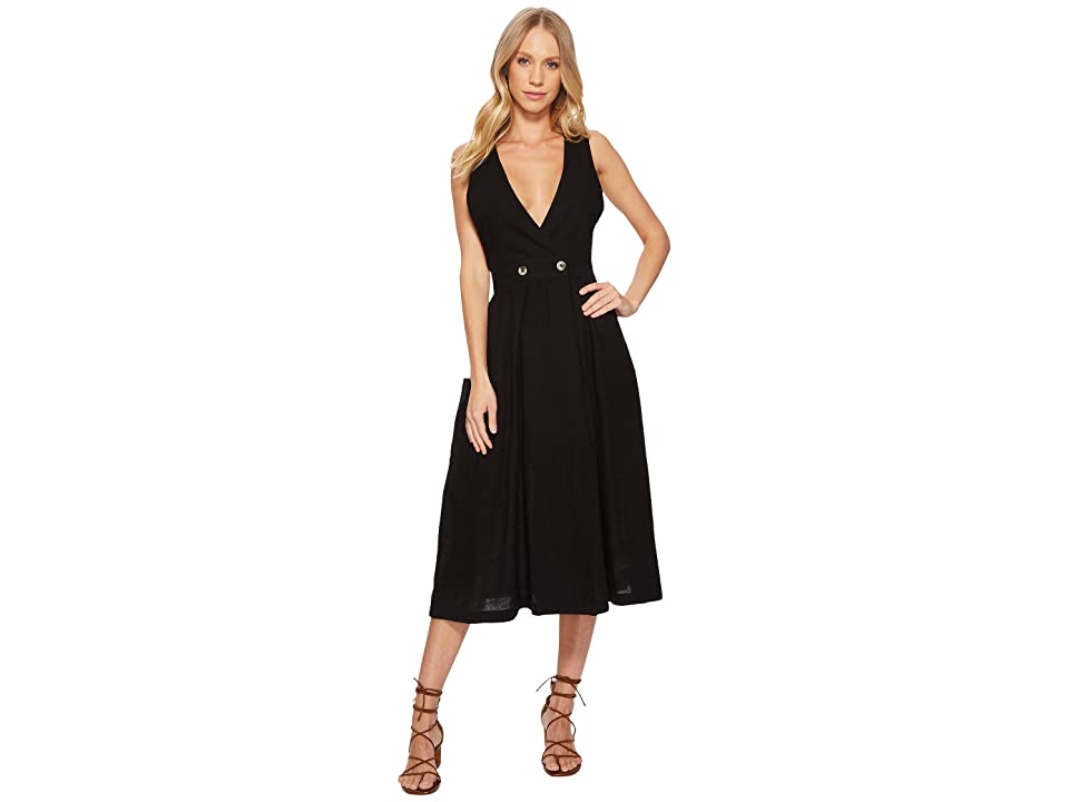 Free People Diana Wrap Dress (Black) Women's Dress