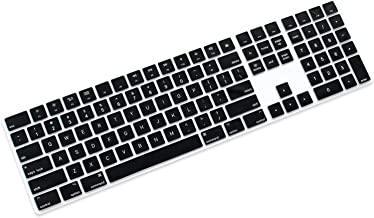 ProElife Ultra Thin Silicone Full Size Wireless Bluetooth Numeric Keyboard Cover Skin for 2017 2018 Release Apple iMac Magic Keyboard with Numeric Keypad MQ052LL/A A1843 US Layout (Black)