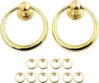 "10pcs Gold Cupboard Cabinet Drawer Rings Pulls Knob (Dia.37mm/1.46"")"