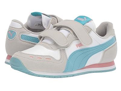 Puma Kids Cabana Racer SL Velcro (Little Kid) (PUMA White/Milky Blue/Gray Violet) Girls Shoes