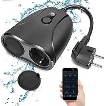 WiFi-buitenstopcontact waterdicht Smart Home intelligent WiFi-buitenstopcontact met 2 uitgangen met app voor afstandsbedie...